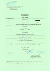 dyplom zaukończenie kursu dla technika masażysty Pawła Badury
